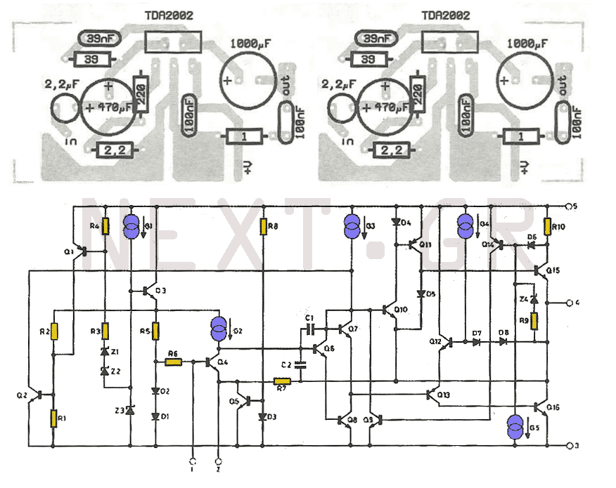 8w amplifier with tda2003 circuit under audio amplifier circuits