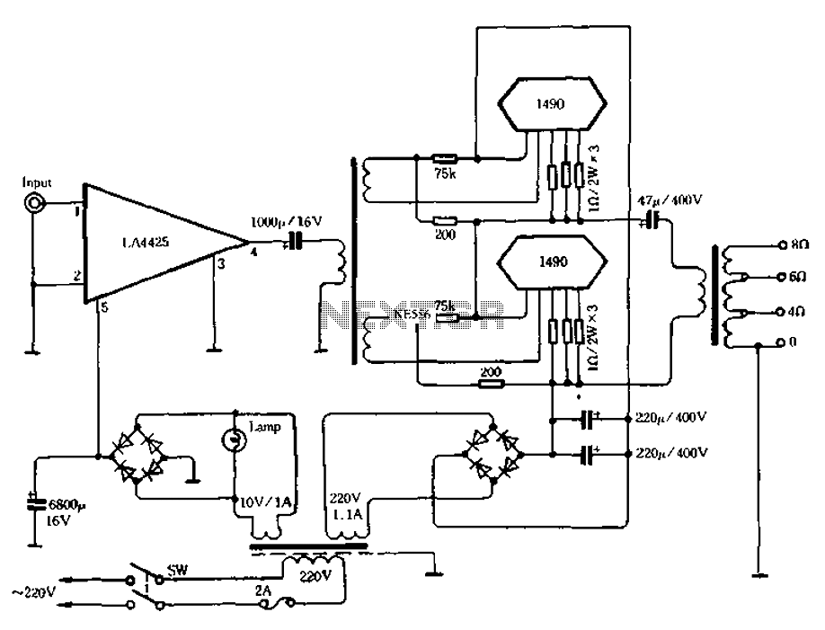 100W + 100W power amplifier - schematic