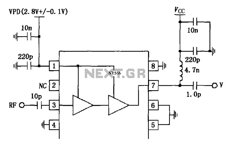 1880MHz internal bias circuit diagram of the amplifier application collector RF2324 - schematic