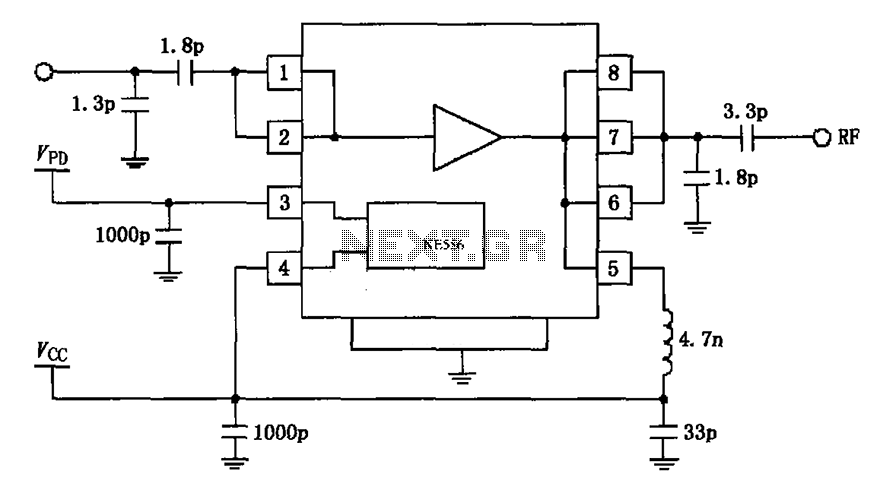 2450MHz end-stage linear power amplifier configuration of the circuit diagram RF2126 - schematic