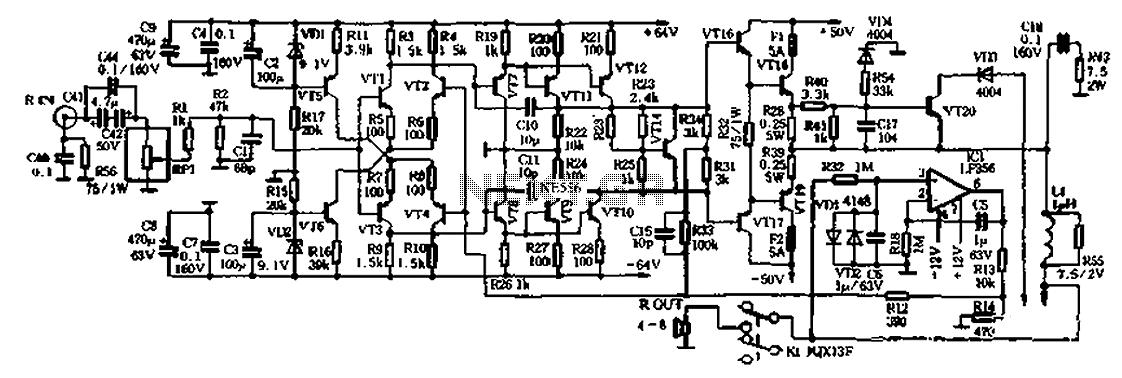 2x150W no large loop feedback hi-fi amplifier - schematic