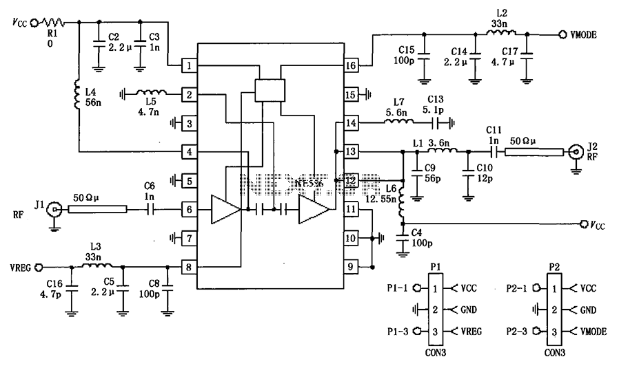 380MHz RF2175 linear amplifier circuit diagram - schematic