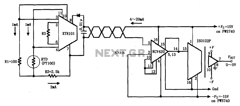 sens detectors 4 20mA loop detection instrumentation amplifier