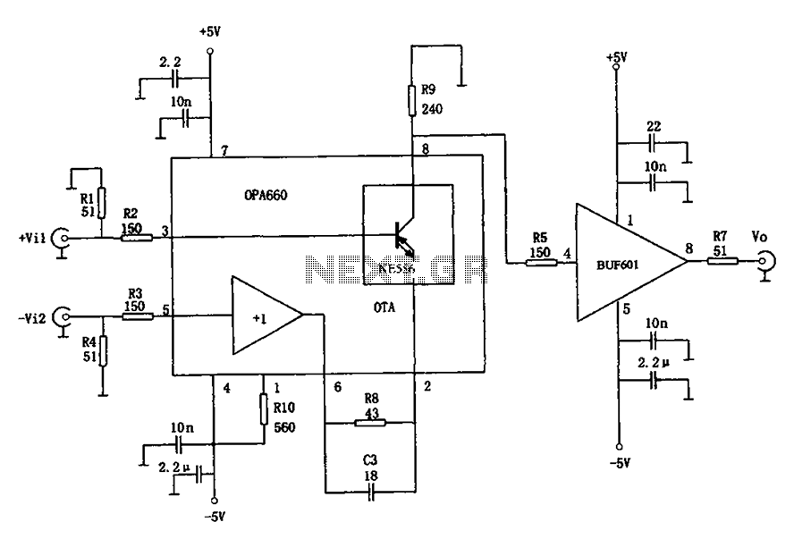400MHz differential amplifier OPA660 BUF601 schematic - schematic