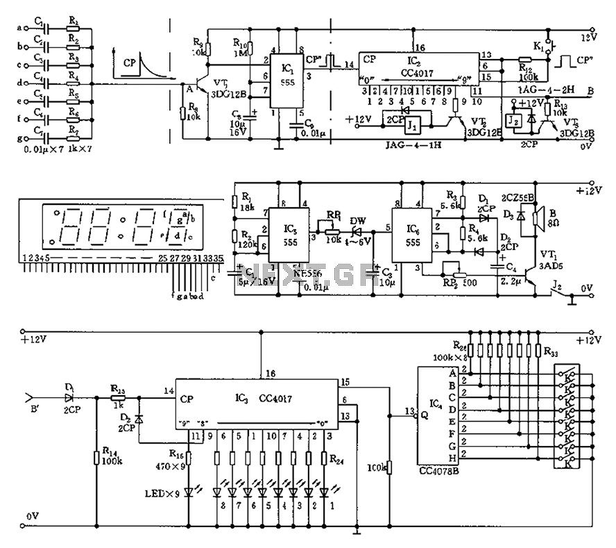 555 Anti-night sleep control circuit diagram recorder - schematic