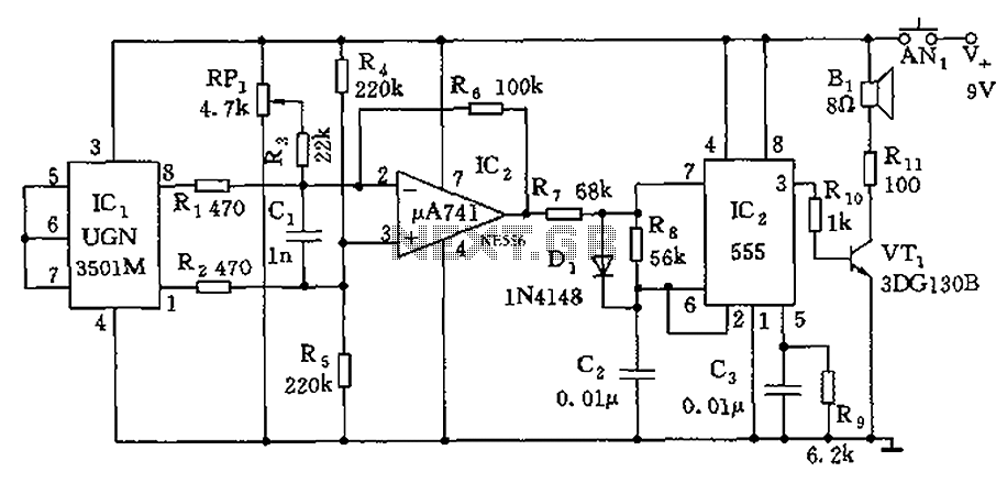555 Audio guide blind electronic circuit diagram - schematic