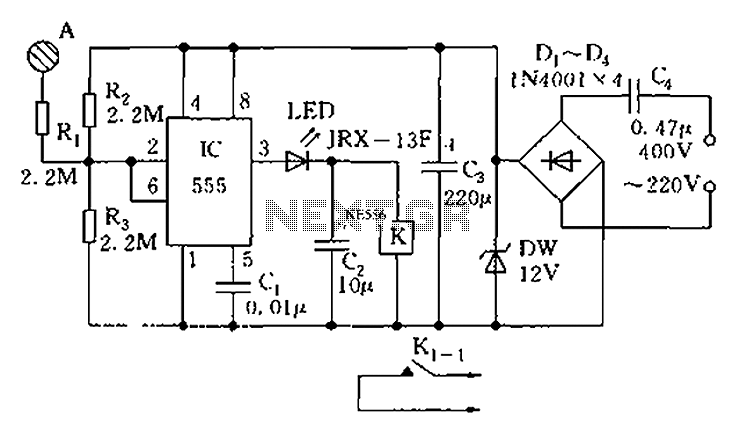 555 Touch-sensitive switch circuit diagram - schematic