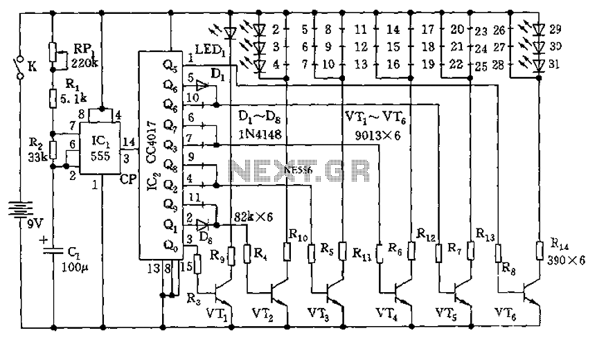 555 electronic circuit diagram of a Christmas tree - schematic