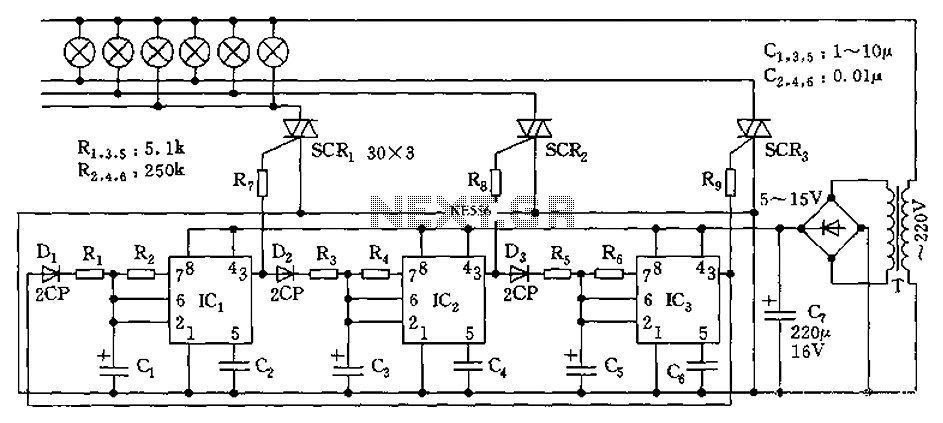 555 flow-control circuit diagram of a lantern - schematic