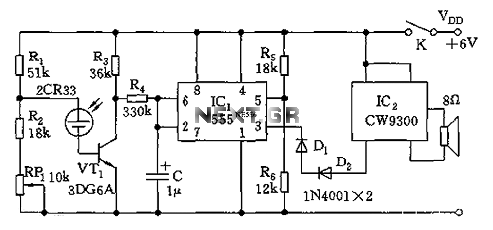 555 light tester circuit diagram - schematic