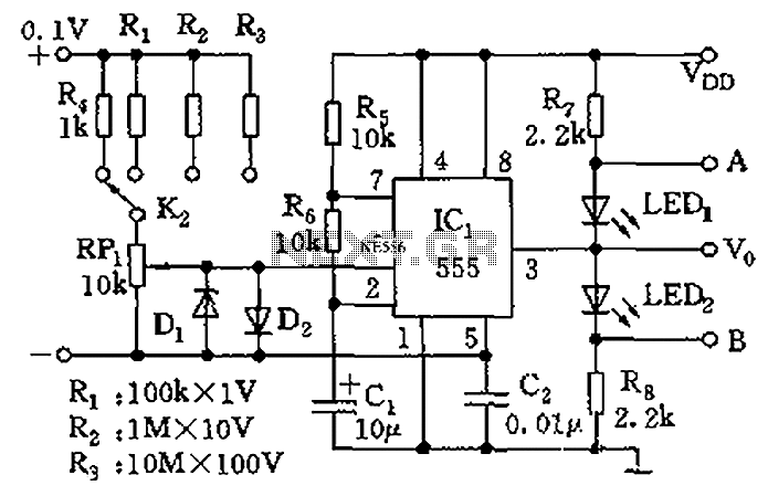 555 meter circuit diagram of a DC voltage - schematic
