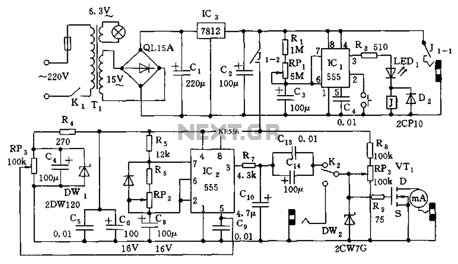 555 meter circuit diagram of the analog information Qigong - schematic