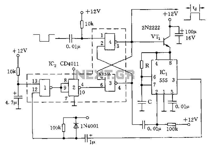 555 monostable circuit diagram of a low power consumption - schematic