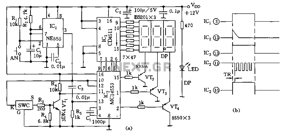 555 new digital thermometer circuit diagram - schematic