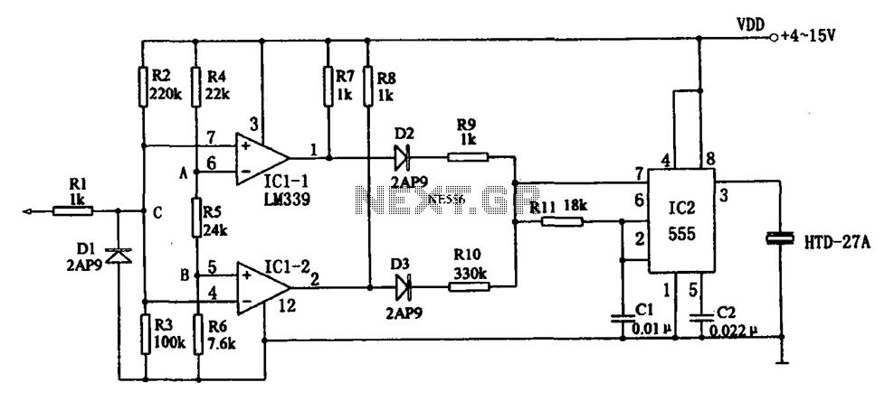 555 sound logic level probe - schematic