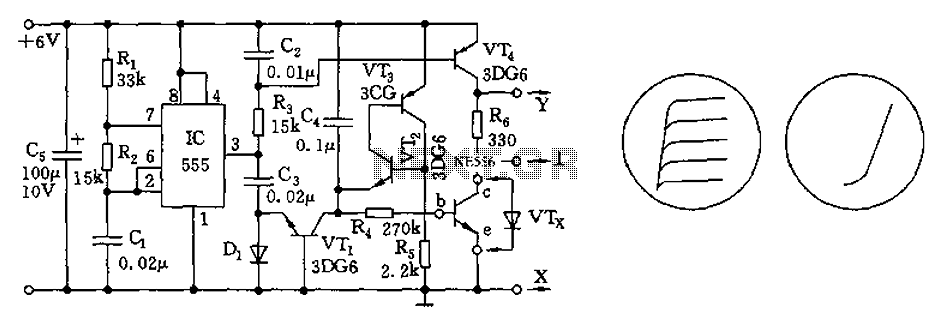 555 transistor characteristic curve tracer circuit diagram