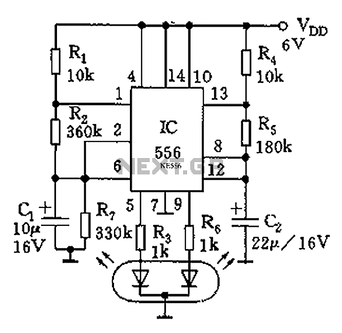555 tri-color flash circuit diagram ornaments - schematic