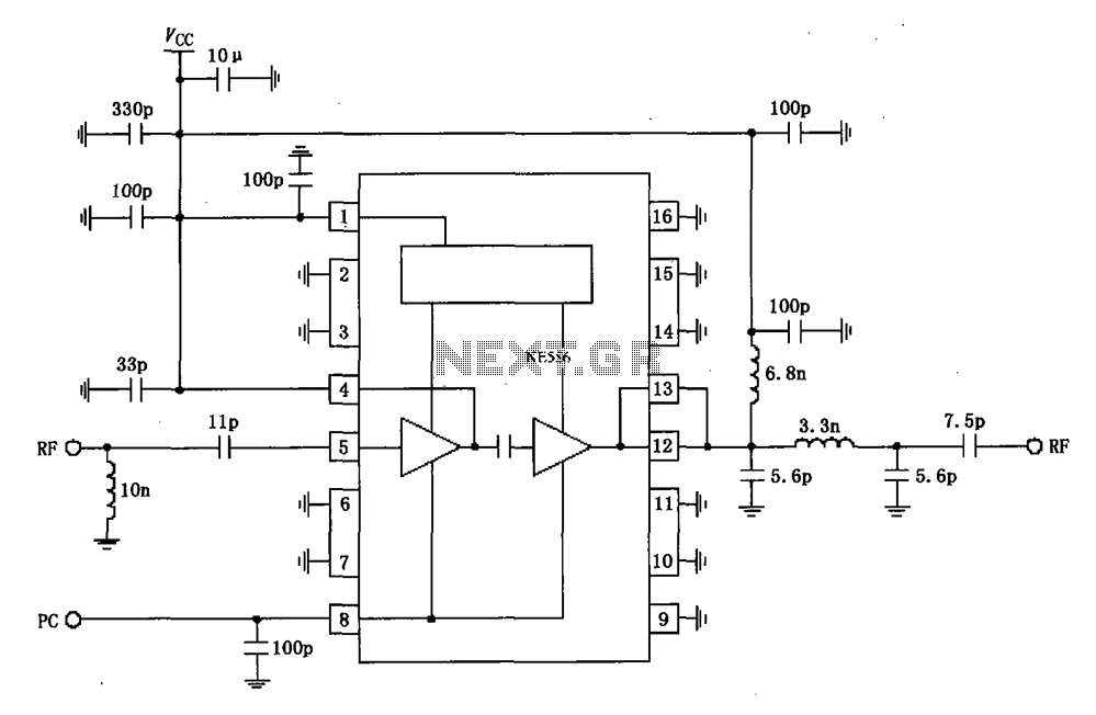 830MHz RF2104 power amplifier schematic circuit configuration - schematic