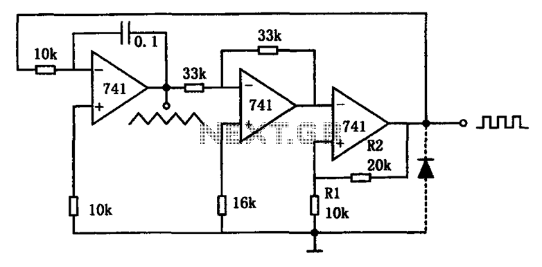 A variety of low-frequency waveform generator 741 circuit - schematic