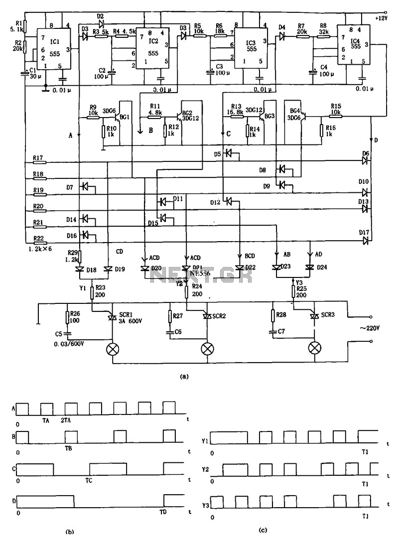 Advertising lights controller circuit diagram 555 - schematic