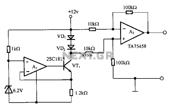 Application circuit temperature sensor - schematic