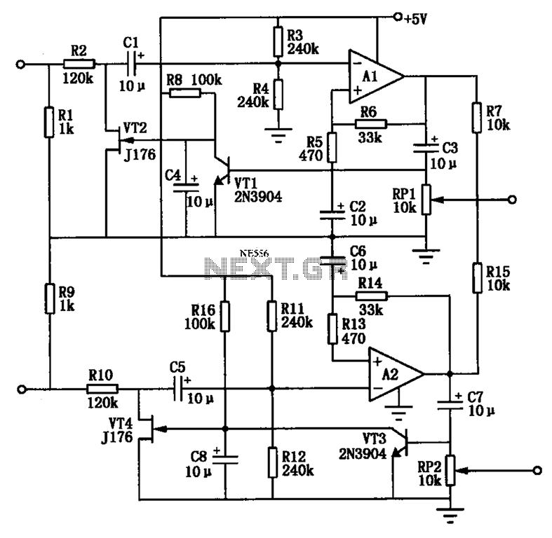 Audio AGC amplifier circuit - schematic