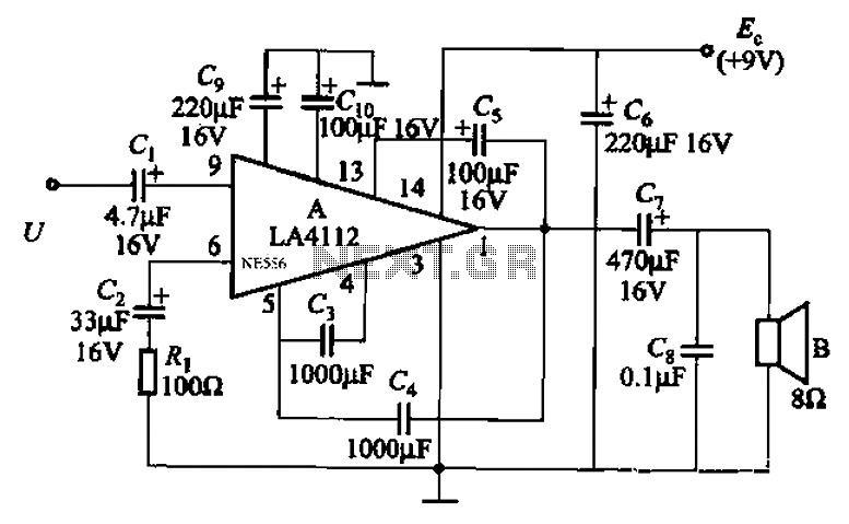 Audio power amplifier circuit LA4112 composition - schematic