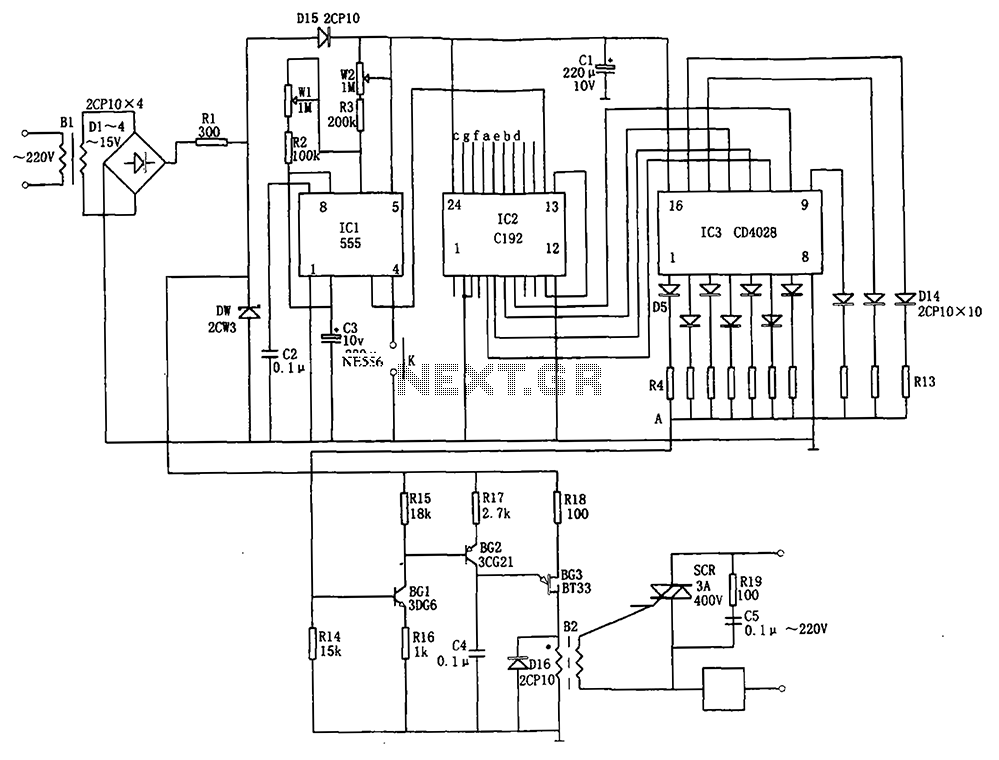 Automatic conversion l0 wind speed controller C192 555 CD4028 - schematic