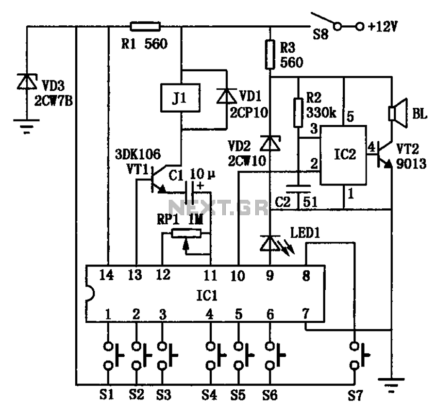 Automotive electronic locks circuit - schematic