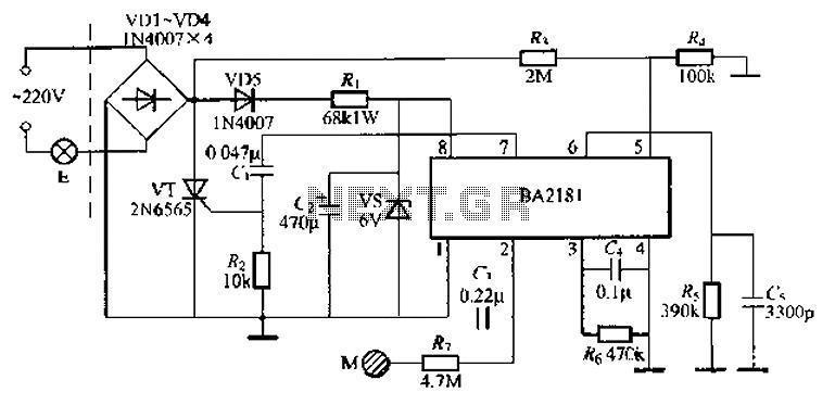 BA2181 stepping touch dimmer light circuit - schematic