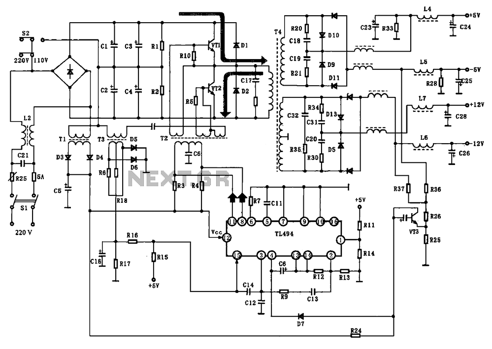 BE-150 mainframe computer switching power supply circuit - schematic