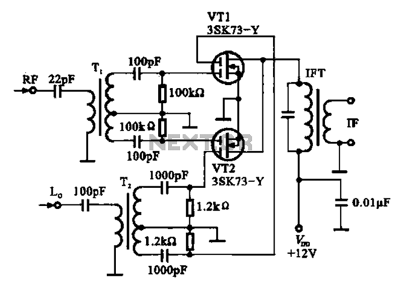 Balanced mixer circuit consisting of two dual-gate field effect transistor formed - schematic