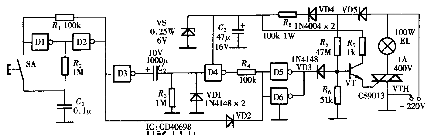 Bedside lamp gates as delay circuit - schematic