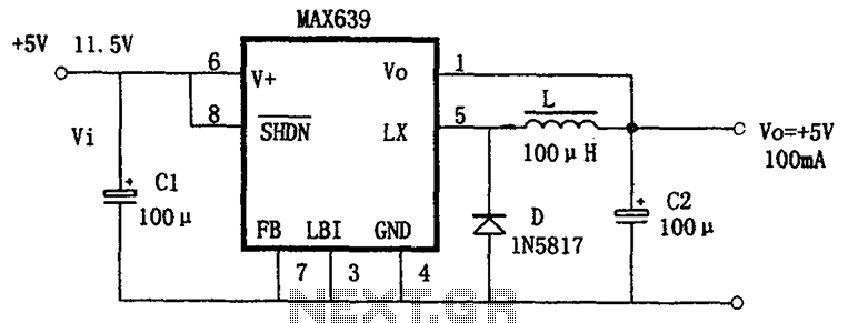 Buck power conversion by the MAX639 + 5V fixed output - schematic