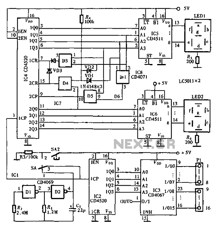 CD4520 CD4511 CD4067 digital automatic inspection circuit diagram - schematic