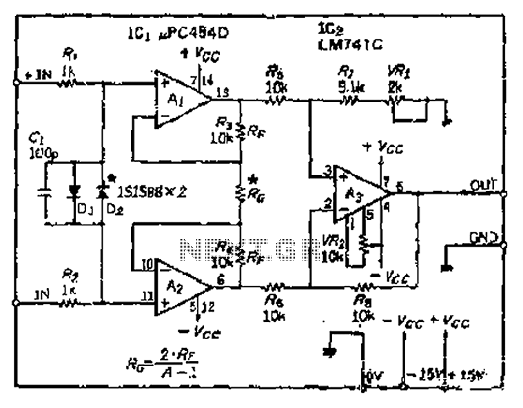 CMRR and high input impedance instrumentation differential amplifier circuit - schematic
