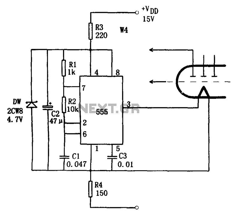Cheap fluorescent display circuit 555 - schematic