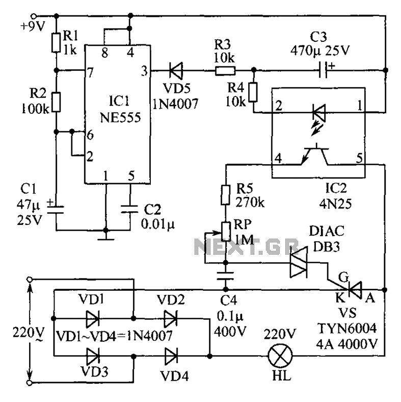 Christmas lights consisting of a circuit diagram of optocoupler - schematic