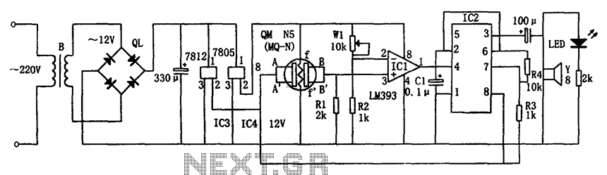 Combustible gas alarm circuit diagram 7812 7805 555 - schematic