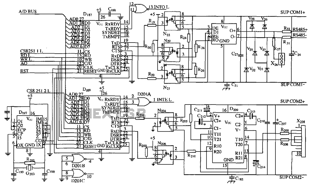 DK04 monitoring module with the computer communications interface circuits - schematic