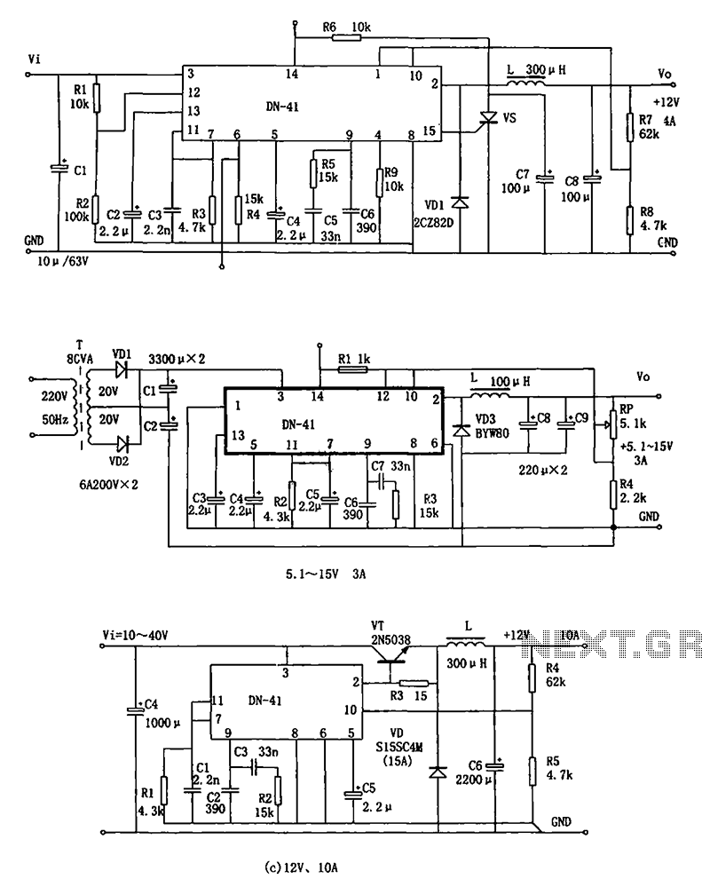 Power Supply Circuit Page 12 Negative Voltage Regulator Dn 41 Consisting Of High Current Switching