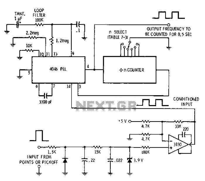 Digital tachometer schematic - schematic