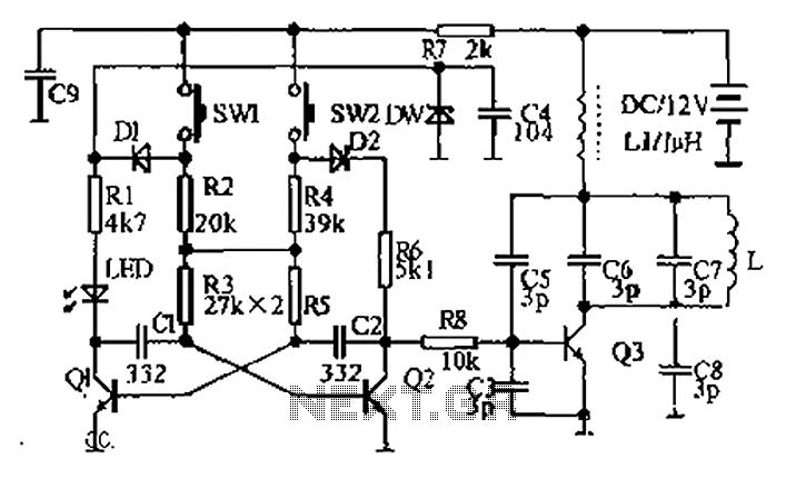 Dual AC radio remote control switch circuit diagram - schematic