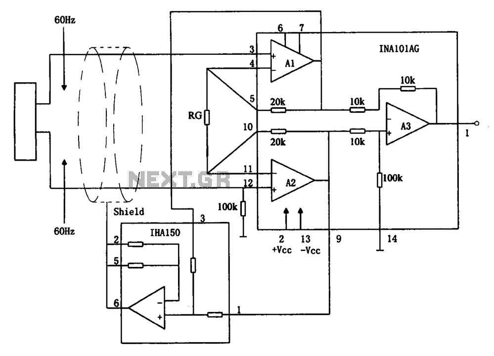 Eliminate hum instrumentation amplifier INA101 circuit - schematic