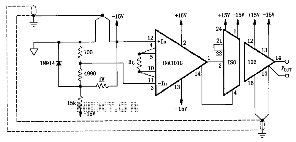 Eliminate loops cold junction compensation amplification circuit ISO102 INA101 - schematic