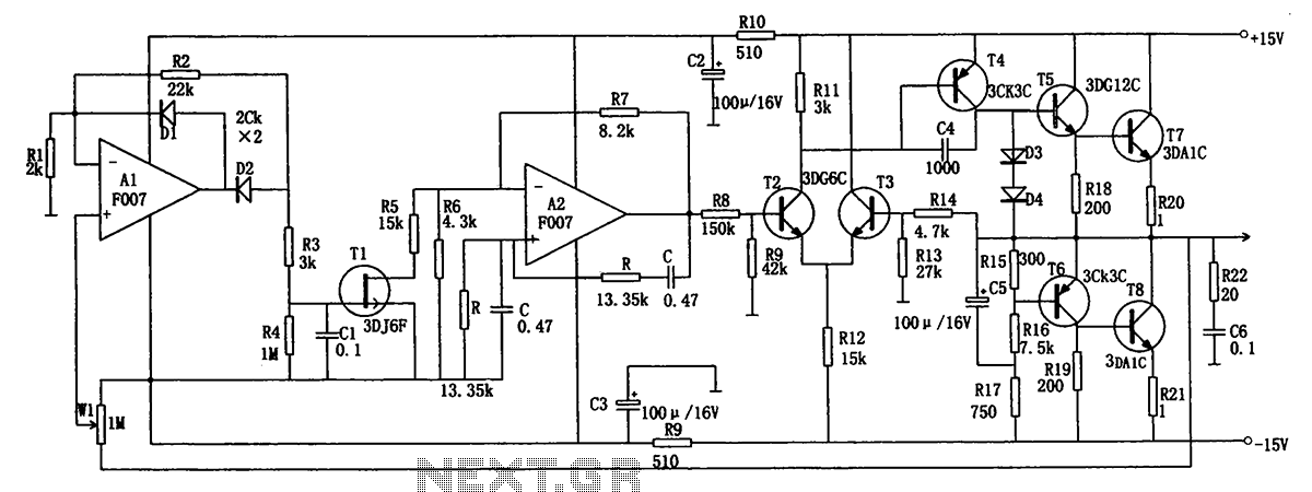 F007 excellent performance of low-frequency signal generator circuit - schematic