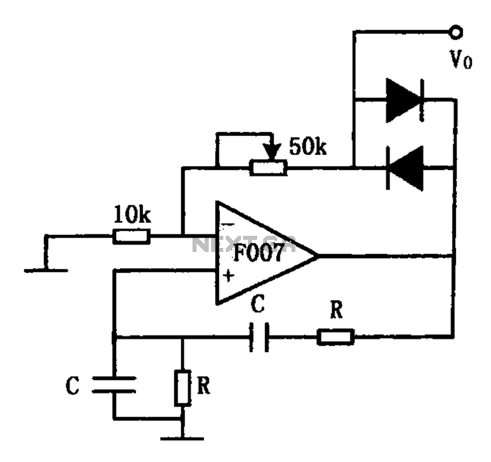 F007 stable sine wave oscillator circuit diagram - schematic