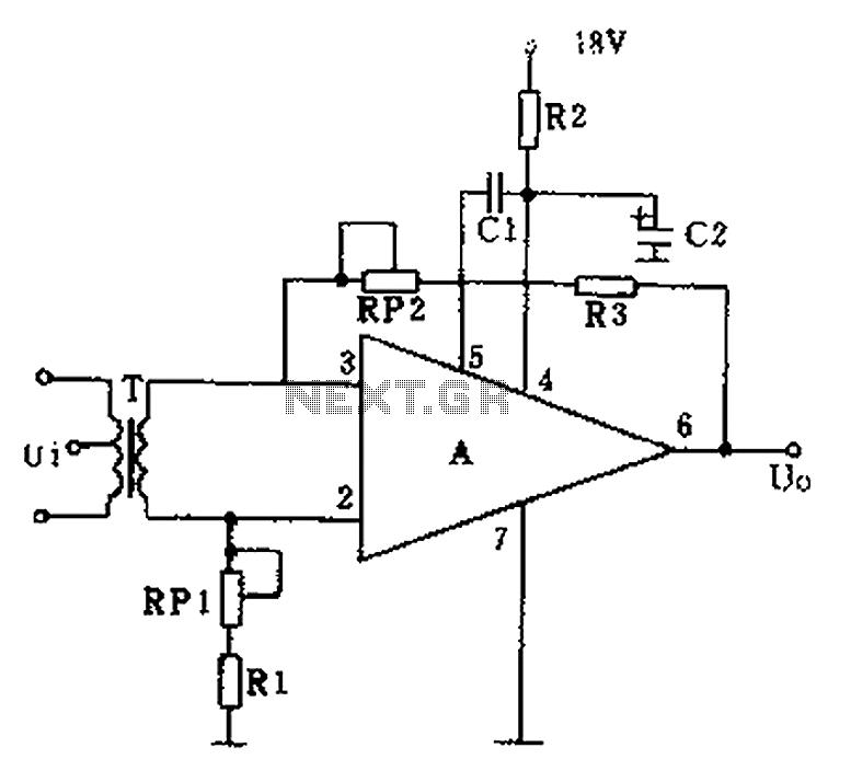GF2A op amp audio amplifier circuit diagram - schematic