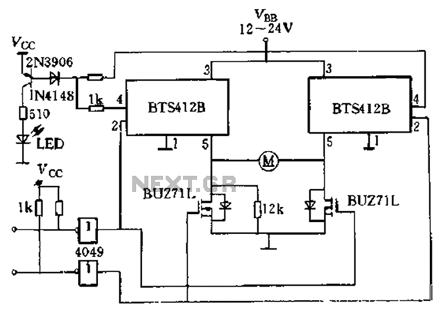 H-bridge driver circuit composed by the Smart SIPMOS - schematic