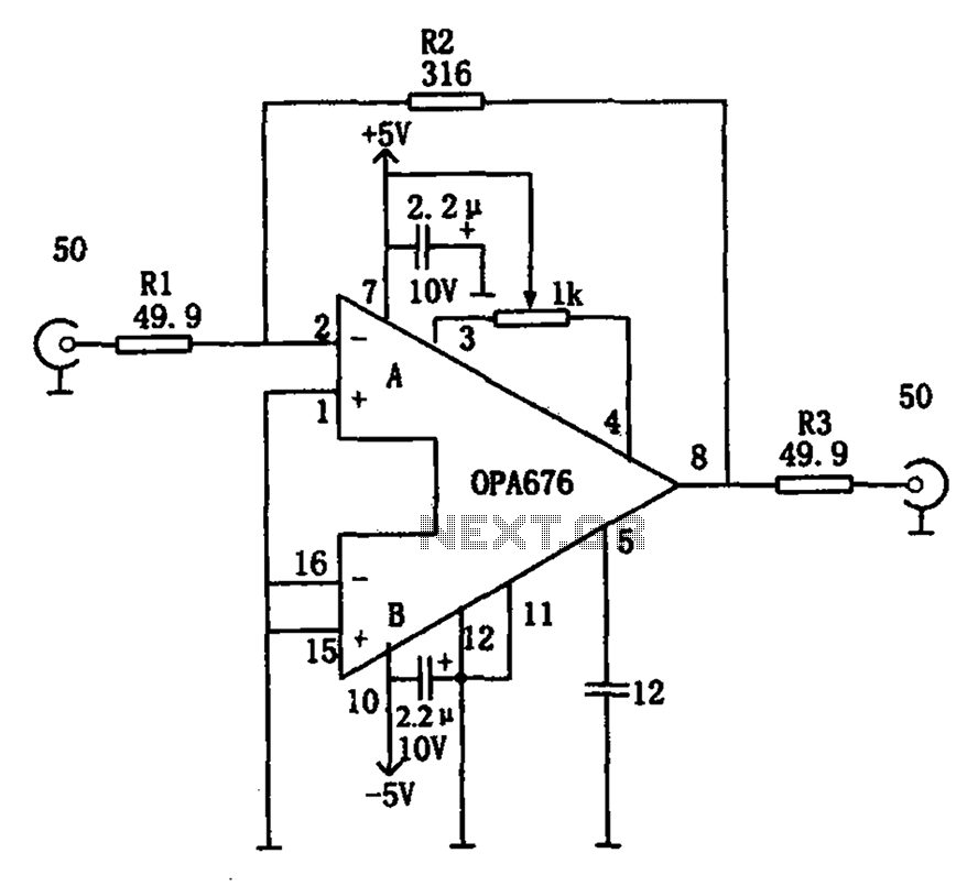 Having 50 input output impedance wideband video amplifier OPA676 circuit - schematic